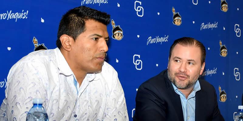 RENE ARTURO RODRIGUEZ PRESENTA A MIGUEL OJEDA COMO NUEVO MANAGER DE YAQUIS