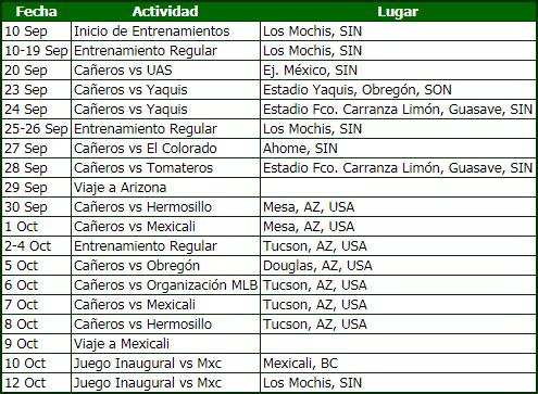 calendario verdes